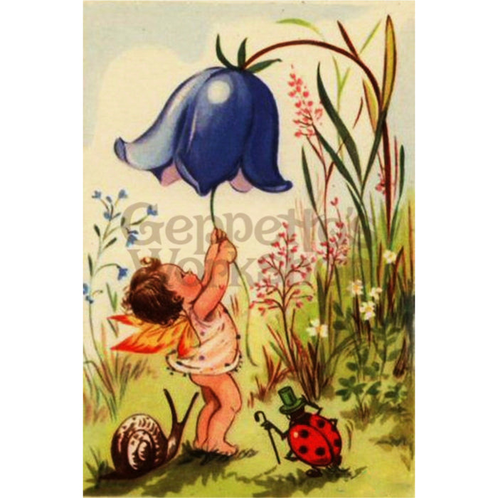 Greeting Card - Baby Fairy with Bluebell and Snail