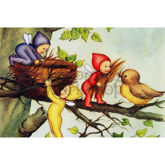 Greeting Card - Baby Fairies Helping make Nest