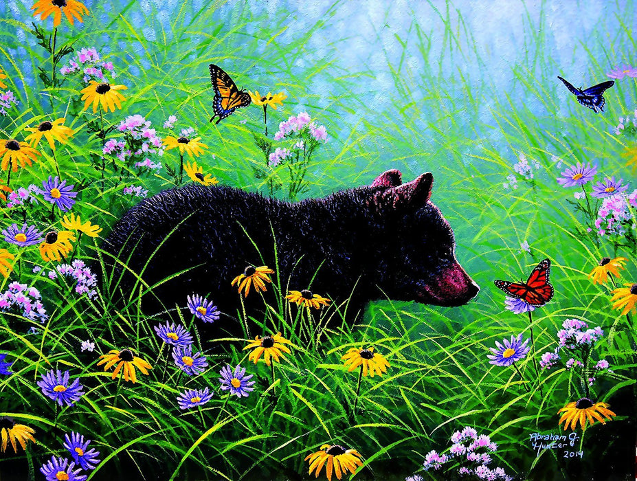 500 Piece Puzzle - Black Bear and Butterflies