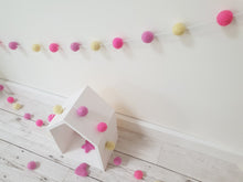Load image into Gallery viewer, Felt Pom Pom Garland - Pink and yellow