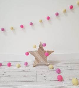 Felt Pom Pom Garland - Pink and yellow