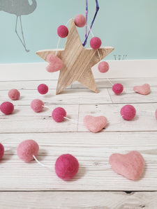 Felt Pom Pom Garland - Mix of pinks with hearts