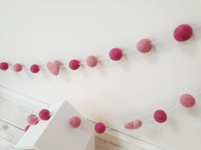Load image into Gallery viewer, Felt Pom Pom Garland - Mix of pinks with hearts