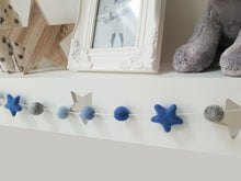 Load image into Gallery viewer, Felt Pom Pom Garland - Blue and grey balls with Blue stars