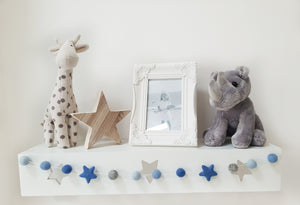 Felt Pom Pom Garland - Blue and grey balls with Blue stars