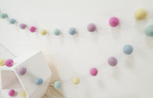 Load image into Gallery viewer, Felt Pom Pom Garland - Pastel Rainbow