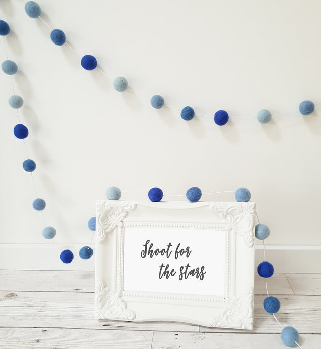 Blue Felt Pom Pom Garland - Mix of Blue shades
