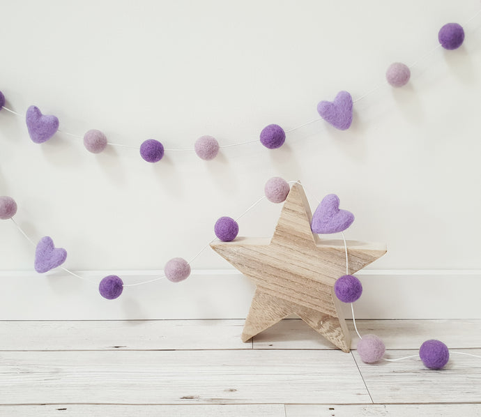 Felt Pom Pom Garland - Mix of Purples with hearts