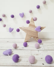 Load image into Gallery viewer, Felt Pom Pom Garland - Mix of Purples with hearts
