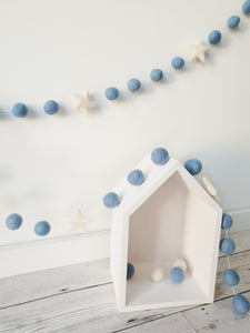 Felt Pom Pom Garland - Blue balls with White star