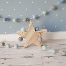 Load image into Gallery viewer, Felt Pom Pom Garland - Mint, Light Blue and Mid Blue