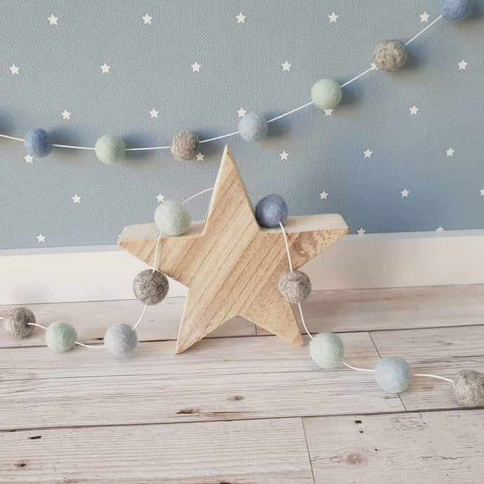 Felt Pom Pom Garland - Mint, Light Blue and Mid Blue