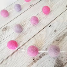 Load image into Gallery viewer, Pink and Purple Felt Pom Pom Garland