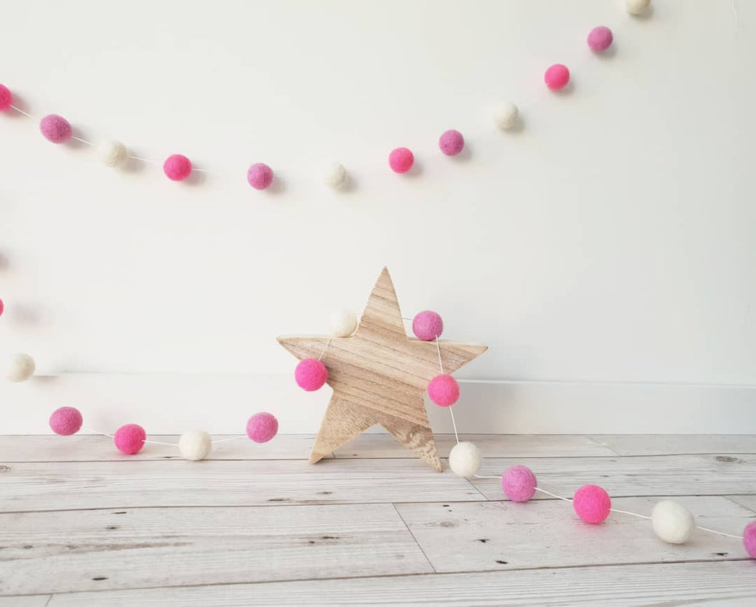 Pink and White Felt Pom Pom Garland