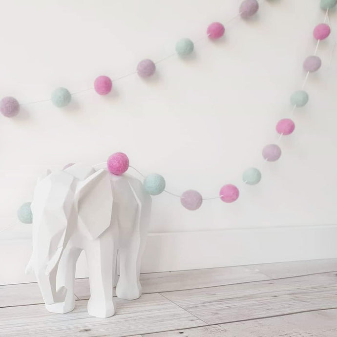 Felt Pom Pom Garland - Pink, Light Purple and Mint