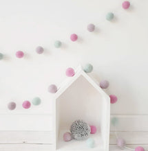 Load image into Gallery viewer, Felt Pom Pom Garland - Pink, Light Purple and Mint