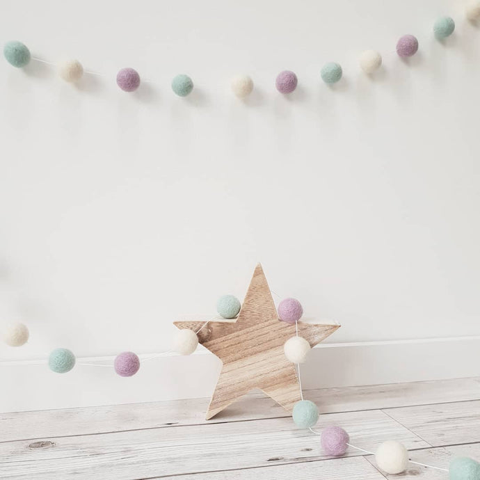 Purple, Mint & Ivory Felt Pom Pom Garland