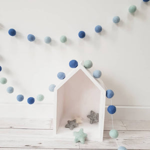 Blue and Mint green Felt Pom Pom Garland