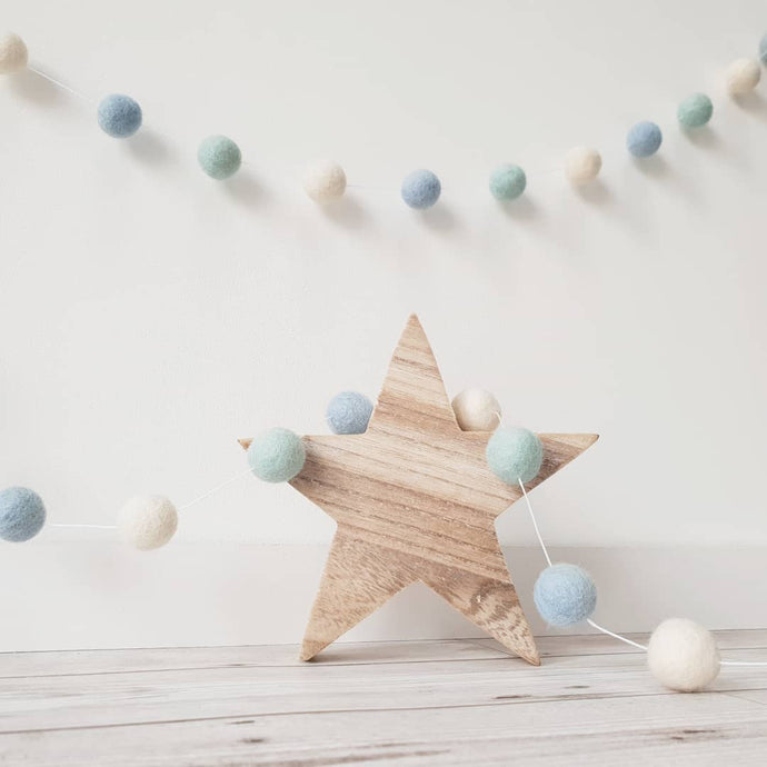 Light Blue, Mint and Ivory Felt Pom Pom Garland