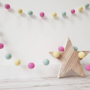 Pink, Yellow and Mint Green Felt Pom Pom Garland