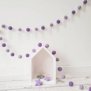Purple Felt Pom Pom Garland