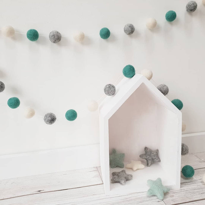 Green, Ivory and Grey Felt Pom Pom Garland