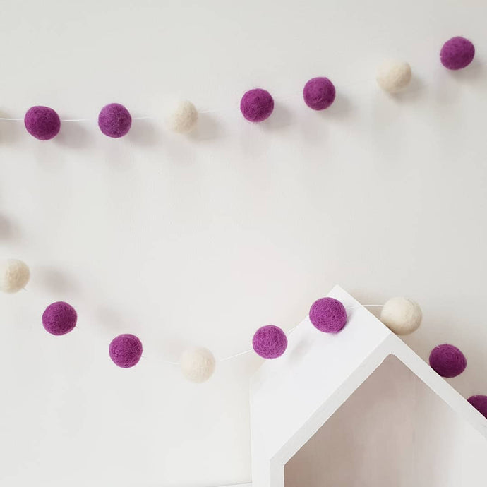 Plum and Ivory Felt Pom Pom Garland