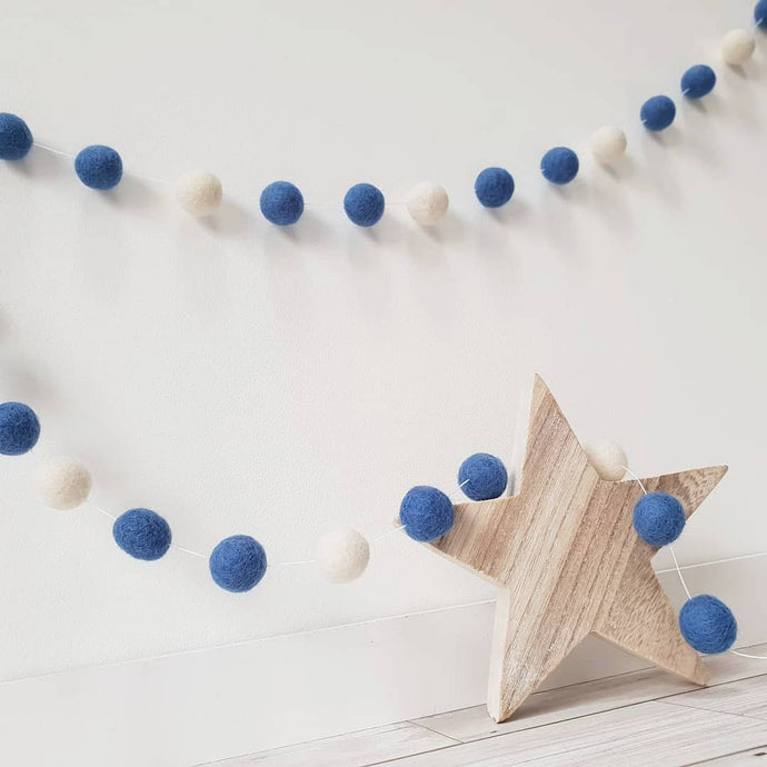 Dark Blue & White Felt Pom Pom Garland