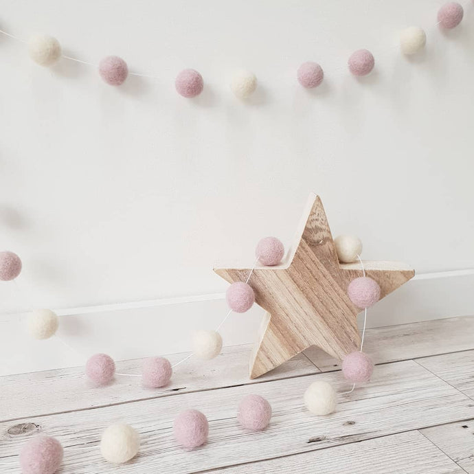 Light Pink and Ivory Felt Pom Pom Garland
