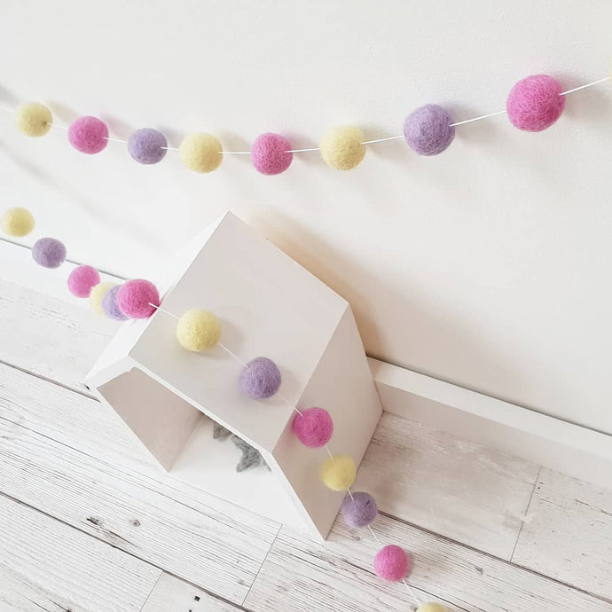 Pink, Purple and Yellow Felt Pom Pom Garland