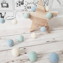 Load image into Gallery viewer, Light Blue, Mint and Ivory Felt Pom Pom Garland