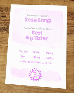 Best big sister certificate