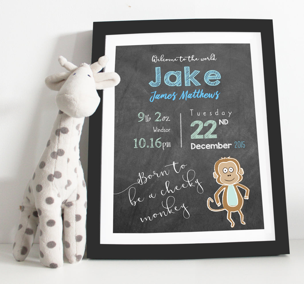 Born to be a cheeky monkey birth details print