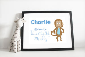 Born to be a cheeky money print - Blue