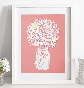 Mixed flower bouquet paper cut - Various colours available