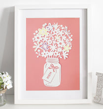 Load image into Gallery viewer, Mixed flower bouquet paper cut - Various colours available