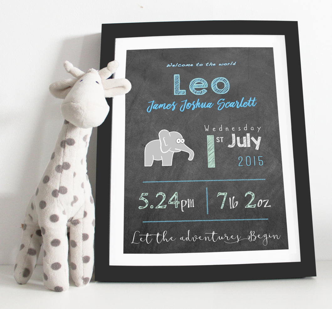 Elephant birth details print