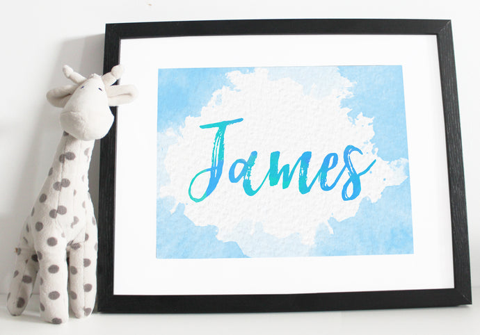 Name print - Watercolour effect - Blue and Green