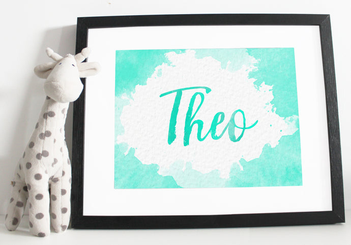 Name print - Watercolour effect - Green