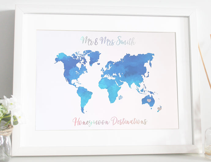 Honeymoon / Travelling Map Foil print