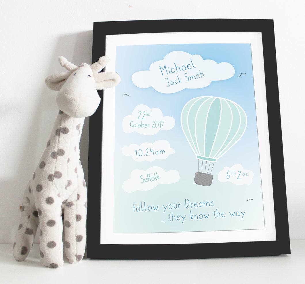 Hot air balloon birth details print - Green