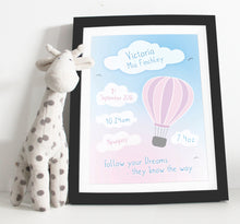 Load image into Gallery viewer, Hot air balloon birth details print - Green