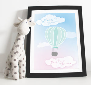 Hot air balloon Nursery prints - Pink & Green