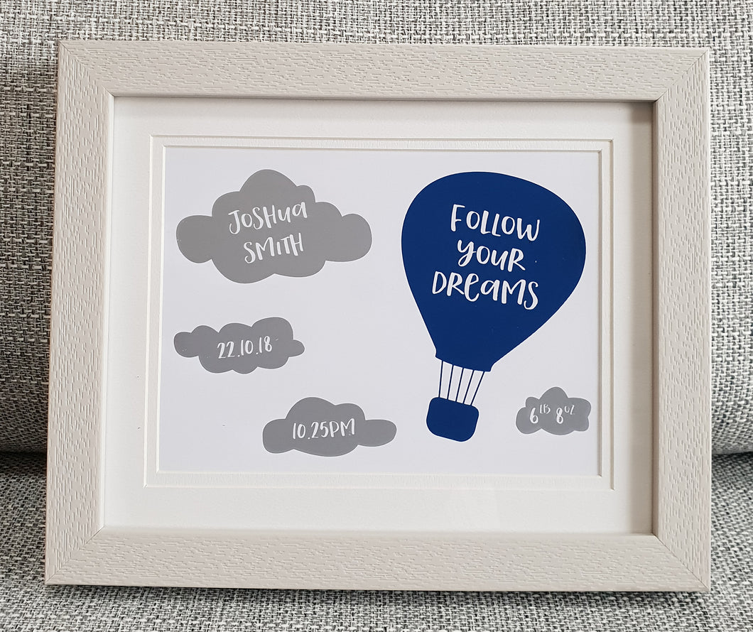 Hot air balloon - Birth details - Personalised Foil print