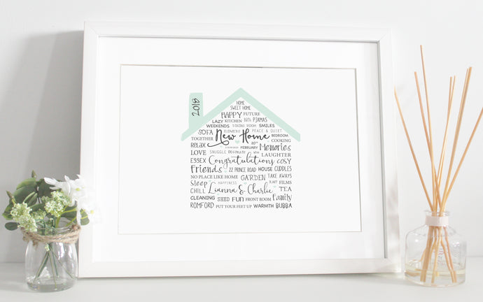 Home Word Art Print - Green, Pink, Blue or Purple