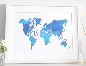 Lets see it all - Map Foil print