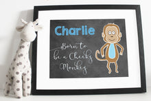 Load image into Gallery viewer, Born to be a cheeky money print - Chalk board style - Blue