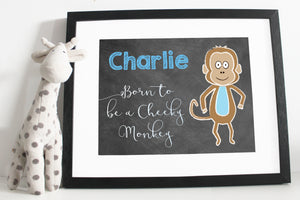 Born to be a cheeky money print - Chalk board style - Blue