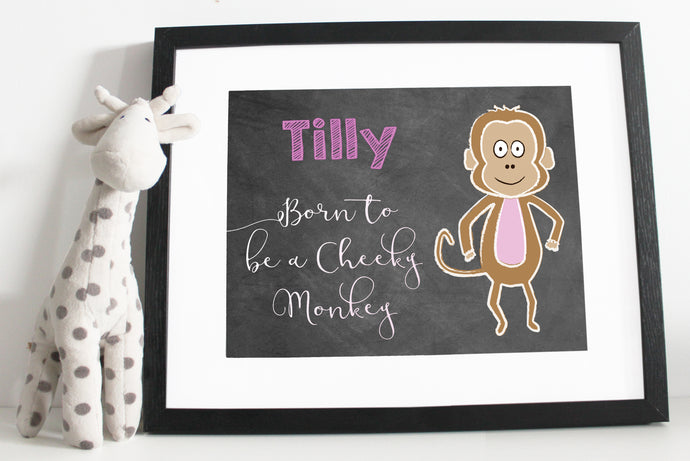 Born to be a cheeky money print - Chalk board style - Pink