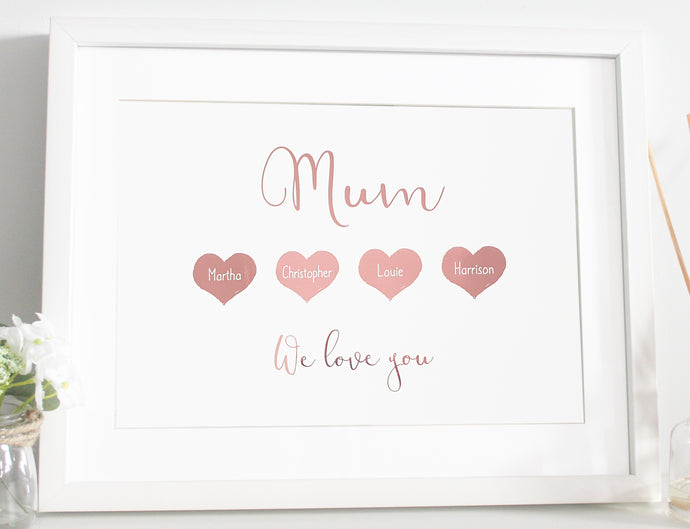 Mum heart foil print - Personalised with children's names